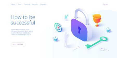 Business success concept in isometric vector illustration. Successful company venture or strategy, marketing solutions or financial performance. Metaphor with padlock, key and cup. Illusztráció