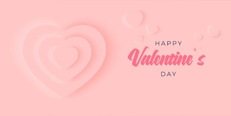 Happy Valentines day background in neumorphism vector design. Beautiful holiday layout with heart shaped love cake and baloons. Romance greeting web banner layout template.