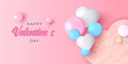 Happy Valentines day background in realistic vector design. Beautiful holiday layout with heart shaped love cake and baloons. Romance greeting web banner layout template.