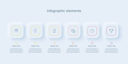 Business process chart infographics with 6 steps in neumorphism design. Square corporate workflow graphic elements. Company flowchart presentation slide template. Vector info graphic.