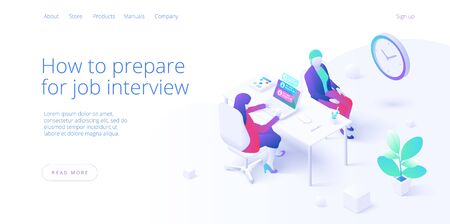 Job interview concept in isometric vector desig. Business HR or Human resources manager hiring employee or worker. Recruiting staff in company. Organizational socialization metaphor.