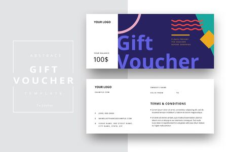 Abstract gift voucher card template. Modern discount coupon or certificate layout with geometric shape pattern. Vector fashion bright background design with information sample text. Vettoriali