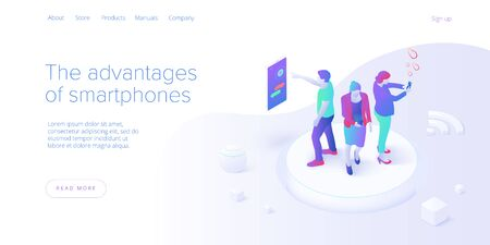 Smartphone communication concept in isometric vector illustration. Electronic messaging app for cell phone. Social media or mobile application layout template for website landing page.