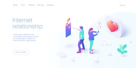 Internet relationship in isometric vector illustration. Couple distance dating via online chat in smartphone or mobile phone. Millennials in virtual love app. Layout template for website landing page. Ilustrace