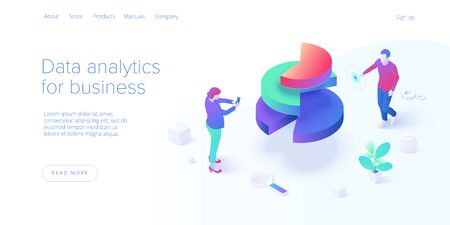 Business strategy isometric vector illustration. Data analytics for company marketing solutions or financial performance. Budget accounting or statistics concept. Website banner layout template.
