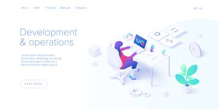 Web development and operations concept in flat design. Developing of internet app or online website service. Creative vector illustration. Landing page layout or banner template. Ilustrace