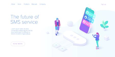 SMS or Messaging service concept in isometric vector illustration. Electronic messenger app for smartphone. Webmail or mobile application layout for website landing header.