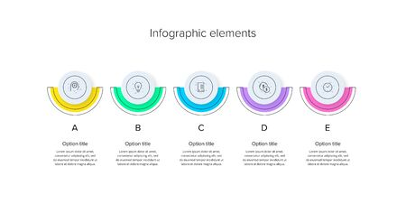 Business process chart infographics with 5 step circles. Circular corporate workflow graphic elements. Company flowchart presentation slide template. Vector info graphic design.