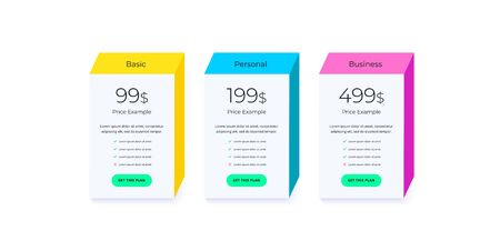 Price table concept in flat line vector design. Pricing or subscription plan ui web elements. Website marketing or promotion interface template. Product comparison table.