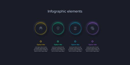 Business process chart infographics with 4 steps in neumorphism design. Square corporate workflow graphic elements. Company flowchart presentation slide template. Vector info graphic.