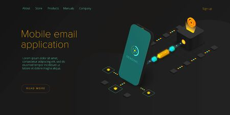Email service concept isometric vector illustration. Electronic mail message as part of business  marketing. Webmail mobile service layout for website header. Newsletter sending background.