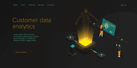 Customer data monitoring concept in isometric vector design. Online internet marketing or business analysis tools. User engagement metrics or measure technology. Web banner layout template. Иллюстрация