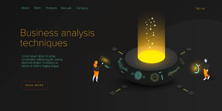 Business analysis in isometric vector illustration. Data analytics for company marketing solutions or financial performance. Budget accounting or statistics concept. Web banne layout template.