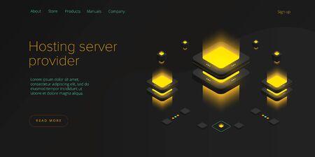 Hosting server isometric vector illustration. Abstract datacenter or blockchain background. Network mainframe infrastructure website layout. Computer storage or farming workstation.