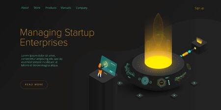 Startup coaching and mentorship concept in isometric vector illustration. Business start up team launching rocket with computer and server. Creative web banner layout template design.