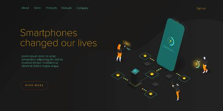 Smartphone addiction in isometric vector illustration. People addicted using smart or mobile phone. Cellphone addicts phubbing background concept. Web banner layout template.
