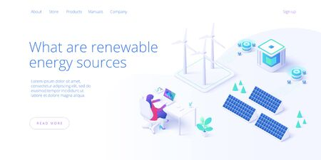 Renewable energy sources concept in isometric vector illustration. Solar electric panels and wind turbines. Sustainable power plants for clean environment . Web banner layout template design. Illustration
