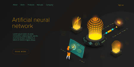Artificial intelligence or neural network concept in isometric vector illustration. Neuronet or ai technology background with robot and human female. Web banner layout template. Vettoriali