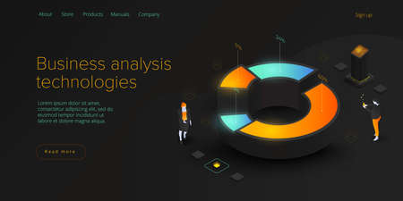 Business analysis in isometric vector illustration. Data analytics for company marketing solutions or financial performance. Budget accounting or statistics concept. Web banner layout template.