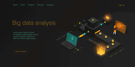 Big data technology in isometric illustration. Innovative information storage and analysis system. Digital technology website landing page template. Web banner layout.