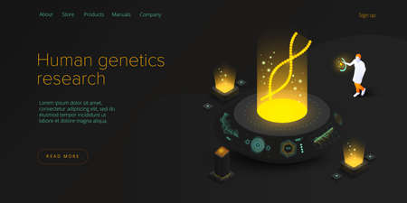 Human genetics concept in isometric illustration. DNA molecule or gene research technology. Medical innovations or biotechnology science background. Biology web banner template.