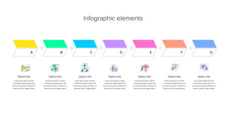Business process chart infographics with 7 step squares. Rectangular corporate workflow graphic elements. Company flowchart presentation slide template. Vector info graphic design.