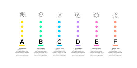 Business process chart infographics with 6 step circles. Circular corporate workflow graphic elements. Company flowchart presentation slide template. Vector info graphic design.
