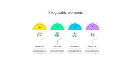 Business process chart infographics with 4 step circles. Circular corporate workflow graphic elements. Company flowchart presentation slide template. Vector info graphic design. Illusztráció