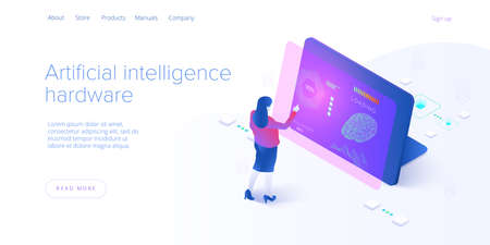 Artificial intelligence or neural network concept in isometric vector illustration. Neuronet or ai technology background with robot and human female. Web banner layout template. Illusztráció