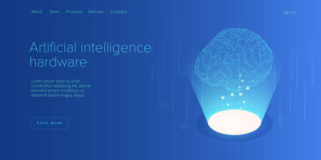 Artificial intelligence or neural network concept in isometric vector illustration. Neuronet or ai technology background with robot and human female. Web banner layout template.  イラスト・ベクター素材