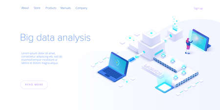Big data technology in isometric vector illustration. Innovative information storage and analysis system. Digital technology website landing page template. Web banner layout.