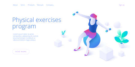 Physiotherapy exercises isometric vector illustration. Injury recovery or treatment program with female with dumbbells on ball. Web banner for rehabilitation center or hospital concept. Ilustracja