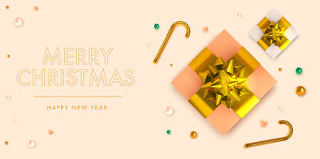 Christmas background in 3d realistic vector design. Abstract xmas tree with gift and golden balls. Happy new year card illustration. Web banner template layout. 向量圖像