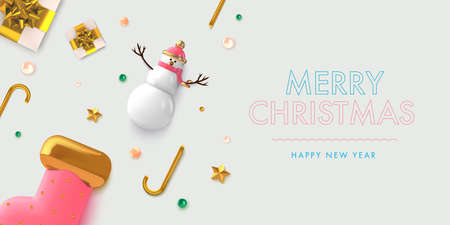 Christmas background in 3d realistic vector design. Abstract xmas flatlay with gifts, snowman and golden balls. Happy new year card illustration. Web banner template layout.