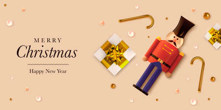 Christmas background in 3d realistic vector design. Abstract xmas flatlay with gifts and nutcracker. Happy new year card illustration. Web banner template layout.