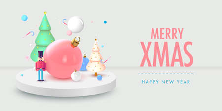 Christmas background in 3d realistic vector design. Abstract xmas with gifts, nutcracker and balls. Happy new year card illustration. Web banner template layout.