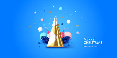 Christmas background in 3d realistic vector design. Abstract xmas tree with gifts, balls and spruce cones. Happy new year card illustration. Web banner template layout.