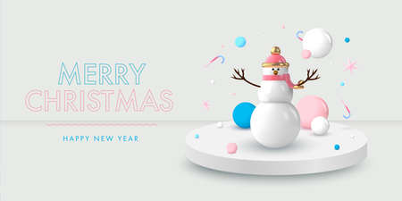 Christmas background in 3d realistic vector design. Abstract xmas snowman with gifts, bubbles and pastel balls. Happy new year card illustration. Web banner template layout.