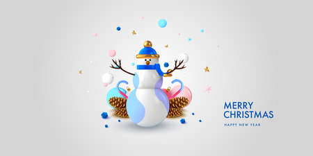 Christmas background in 3d realistic vector design. Abstract xmas snowman with gifts, balls and spruce cones. Happy new year card illustration. Web banner template layout. 向量圖像