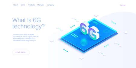 6g network technology in isometric vector illustration. Wireless mobile telecommunication service concept. Marketing website landing template. Ilustração