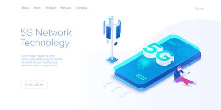 5g network technology in isometric vector illustration. Wireless mobile telecommunication service concept. Marketing website landing template. Ilustração