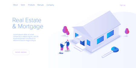 Real estate searching service app. Property mortgage or loan concept in isometric vector illustration. Home buying or property rent payment system.