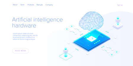 Artificial intelligence or neural network concept in isometric vector illustration. Neuronet or ai technology background with robot and human female. Web banner layout template. Ilustração