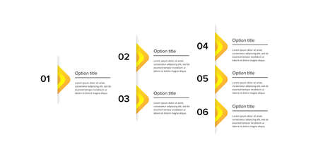Business process chart infographics with 6 step squares. Circular corporate workflow graphic elements. Company flowchart presentation slide template. Vector info graphic design.