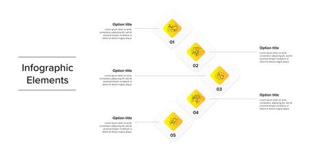 Business process chart infographics with 5 step squares. Circular corporate workflow graphic elements. Company flowchart presentation slide template. Vector info graphic design. Ilustração