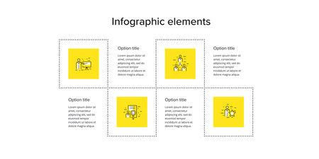 Business process chart infographics with 4 step squares. Circular corporate workflow graphic elements. Company flowchart presentation slide template. Vector info graphic design. Ilustração