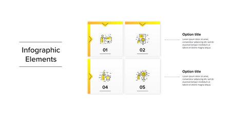 Business square matrix chart infographics with 4 step rectangles. Corporate grid diagram graphic elements. Company presentation table. Slide template. Vector info graphic design. Ilustração