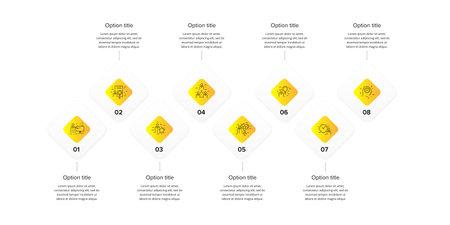 Business process chart infographics with 8 step squares. Circular corporate workflow graphic elements. Company flowchart presentation slide template. Vector info graphic design. Ilustração