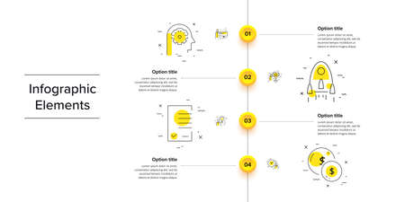 Business process chart infographics with 4 step circles. Circular corporate workflow graphic elements. Company flowchart presentation slide template. Vector info graphic design. Ilustração