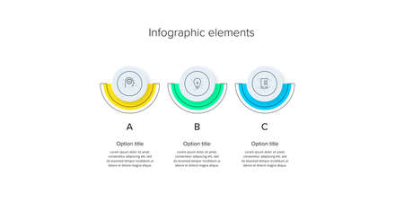 Business process chart infographics with 3 step circles. Circular corporate workflow graphic elements. Company flowchart presentation slide template. Vector info graphic design.